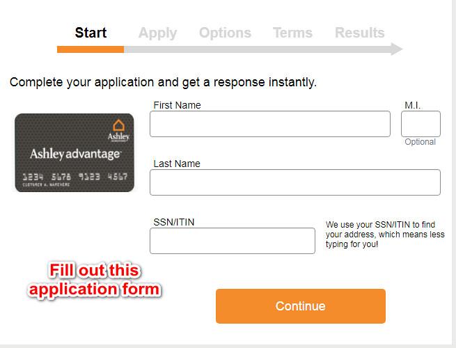 Ashley Furniture Credit Card application