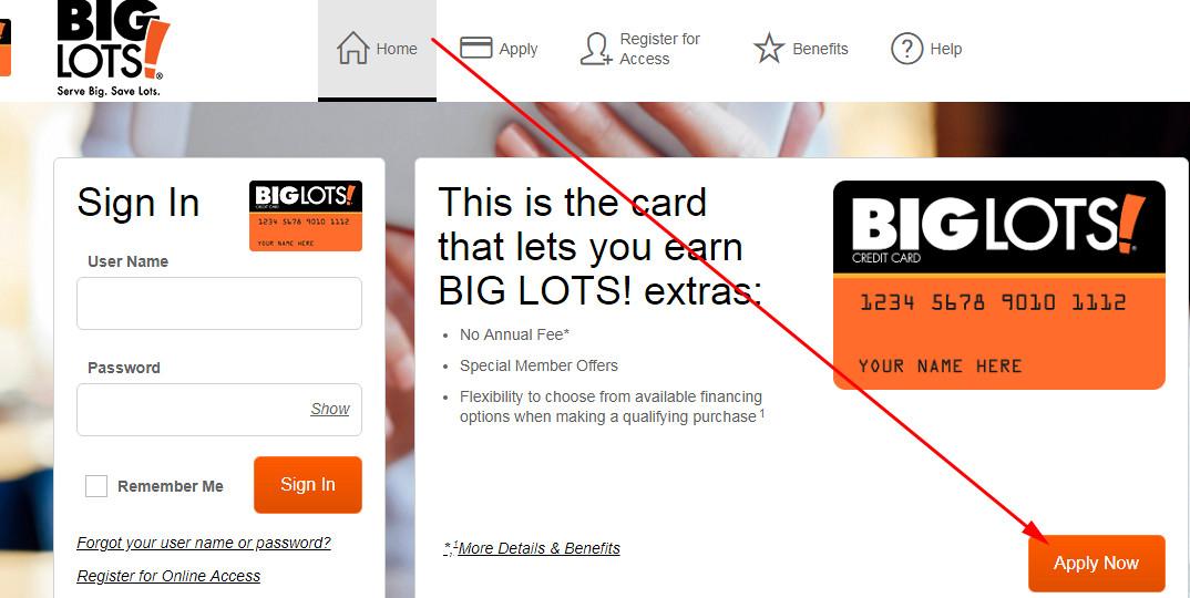 big lots credit card application