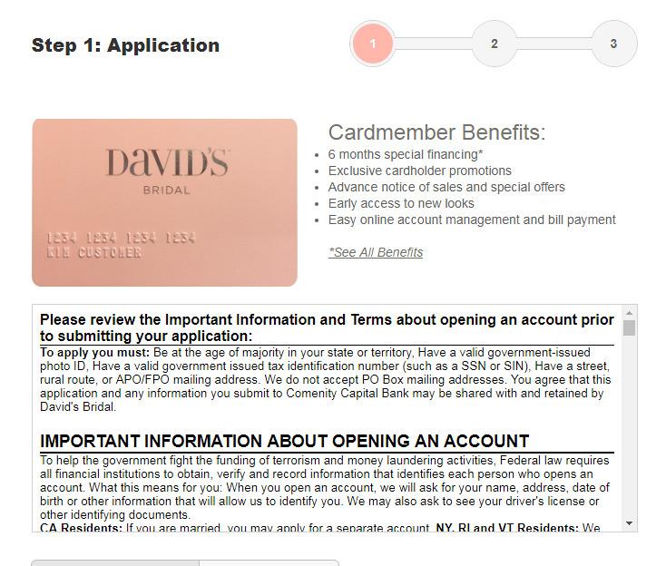 how to pay David's Bridal Credit Card