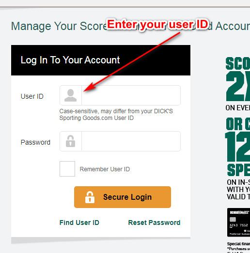 Dicks Sporting Goods credit card login