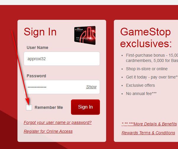 GameStop credit card payment