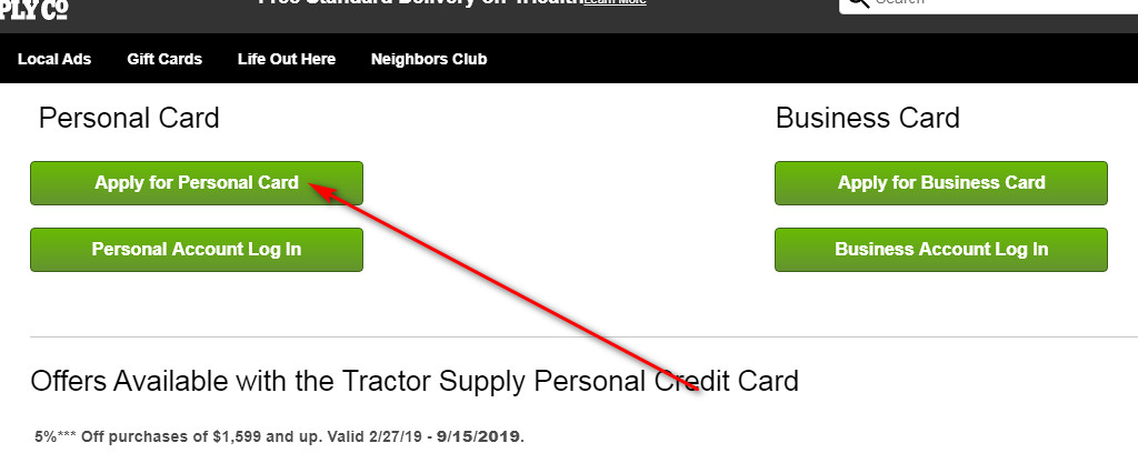 Tractor Supply Store Card applicaton
