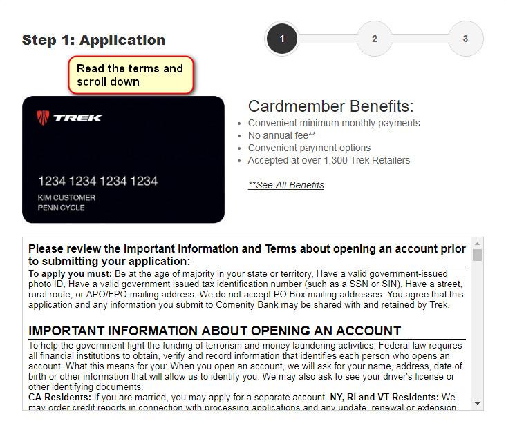 trek credit card application
