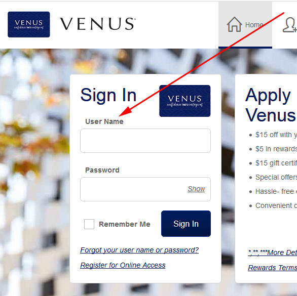 venus credit card login