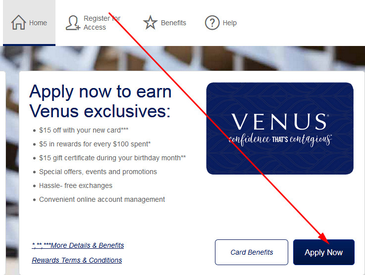 venus credit card payment