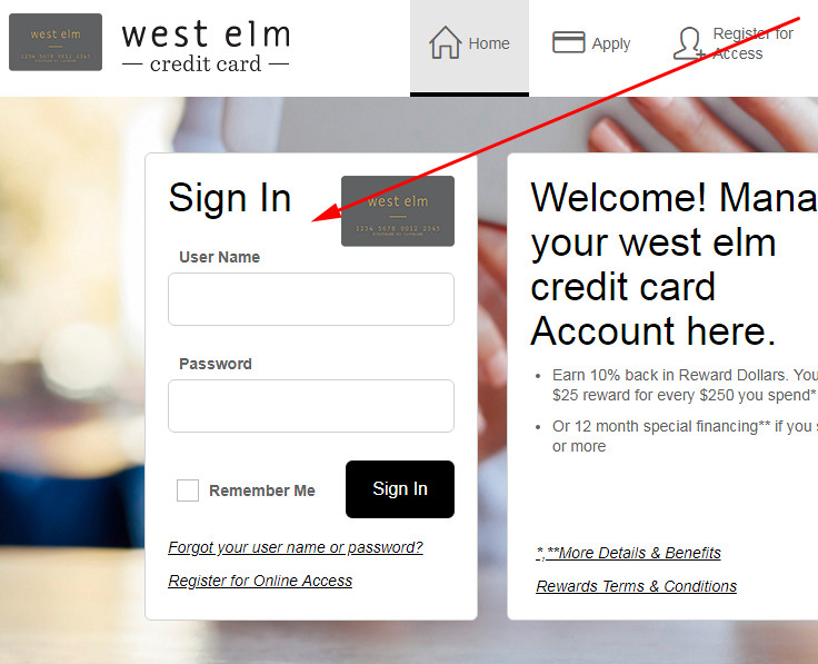 west elm credit card login