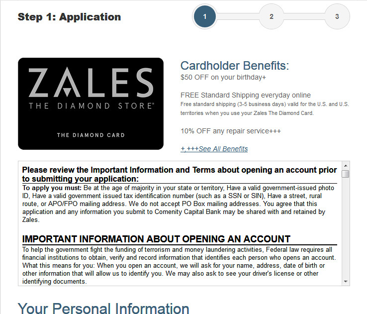zales credit card approval ods
